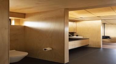 Strachan Group Architects – Winner – TIDA New architecture, bathroom, ceiling, floor, flooring, interior design, lighting, plywood, room, wall, wood, brown