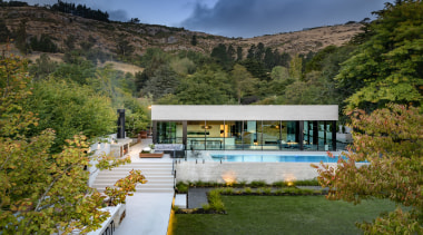 Freeman Ball Developments – Winner – 2019 TIDA architecture, building, estate, home, house, lake, landscape, mountain, natural landscape, nature, property, real estate, room, tree, villa, brown