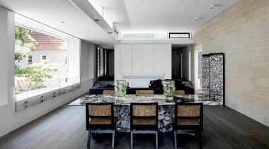Porebski Architects – Highly Commended – 2019 TIDA architecture, building, ceiling, daylighting, design, dining room, floor, flooring, furniture, green, hardwood, home, house, interior design, kitchen, living room, loft, property, real estate, residential area, room, table, tile, wall, wood flooring, gray