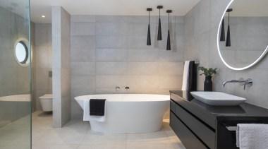 Bathrooms by Elite – Highly Commended – TIDA bathroom, floor, interior design, plumbing fixture, room, sink, tap, tile, wall, gray