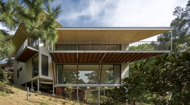 RAArchitects – Highly Commended – 2019 TIDA Australia architecture, building, cottage, facade, home, house, property, real estate, residential area, roof, shade, tree, brown