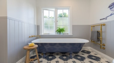 Du Bois Design – Highly Commended – TIDA bathroom, bathtub, estate, floor, flooring, home, interior design, plumbing fixture, real estate, room, tile, window, gray