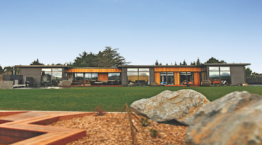 David Reid Homes Oamaru – Finalist – 2019 architecture, brick, building, cottage, estate, facade, farmhouse, grass, home, house, land lot, landscape, landscaping, lawn, property, real estate, residential area, rock, roof, room, rural area, siding, sky, suburb, tree, wall, yard, teal