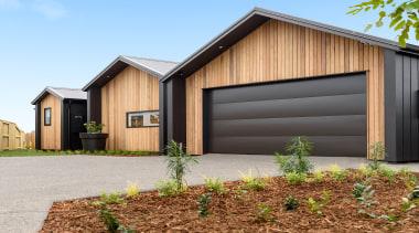 Cornerstone Design / GJ Gardner Homes Tauranga – architecture, building, door, estate, facade, garage, garage door, home, house, land lot, property, real estate, residential area, roof, shed, siding, tree, wood