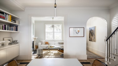 Porebski Architects – Highly Commended – 2019 TIDA architecture, building, ceiling, chandelier, daylighting, design, floor, flooring, furniture, hall, home, house, interior design, light fixture, lighting, living room, loft, property, room, shelf, table, wall, white, wood flooring, gray