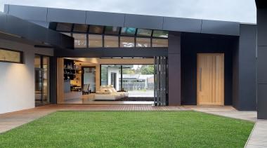 Wolf Architects – Winner – 2019 TIDA Australia architecture, artificial turf, building, ceiling, courtyard, design, door, estate, facade, floor, flooring, furniture, glass, grass, green, home, house, interior design, lawn, property, real estate, room, window, black