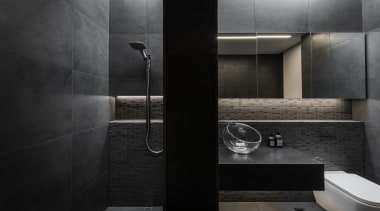 Detail by Davinia Sutton – Highly Commended – architecture, bathroom, black, black and white, floor, flooring, interior design, plumbing fixture, room, sink, tile, wall, black