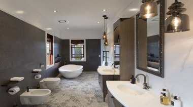Kitchens By Design – Highly Commended – TIDA bathroom, home, interior design, real estate, room, gray, black