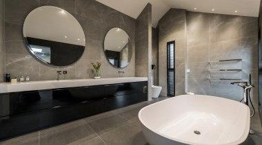 Eternodesign – Highly Commended – TIDA New Zealand architecture, bathroom, floor, interior design, property, room, sink, tap, tile, gray, black