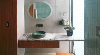 CplusC Architectural Workshop – Highly Commended – 2019 architecture, bathroom, bathroom accessory, bathroom cabinet, bathroom sink, building, ceramic, floor, furniture, glass, house, interior design, material property, plumbing fixture, property, room, sink, tap, tile, toilet, turquoise, gray, white