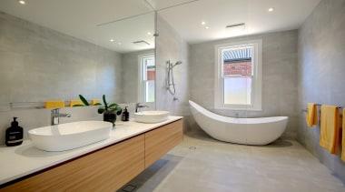 Catnik Design Studio – Highly Commended – 2019 architecture, bathroom, bathtub, building, ceiling, floor, flooring, home, house, interior design, plumbing fixture, property, real estate, room, sink, tile, gray