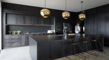 Highly Commended – Michael Cooper Architects – 2019 architecture, building, cabinetry, ceiling, countertop, design, floor, flooring, furniture, home, house, interior design, kitchen, lighting, loft, material property, property, real estate, room, table, tile, wall, black, gray