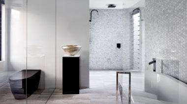 Archer Design – Winner – 2019 TIDA Australia architecture, bathroom, floor, flooring, interior design, material property, plumbing fixture, property, room, tap, tile, wall, gray