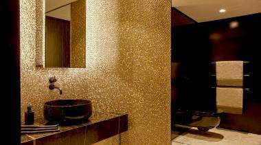 Archer Design – Highly Commended – 2019 TIDA architecture, bathroom, building, floor, flooring, interior design, material property, mirror, plumbing fixture, property, restroom, room, tile, wall, brown
