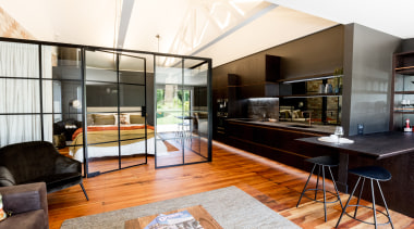 Highly Commended – Leonie Metge – Cube Dentro apartment, architecture, building, ceiling, design, floor, flooring, furniture, home, house, interior design, living room, loft, property, real estate, room, table, white, black