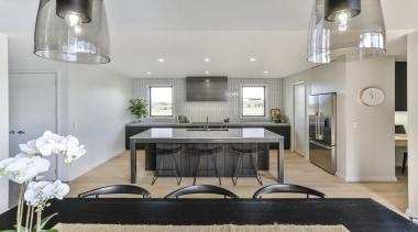 Highly Commended – Kyla Potter – Carlielle Kitchens architecture, building, cabinetry, ceiling, coffee table, design, dining room, floor, furniture, home, house, interior design, light fixture, lighting, living room, property, real estate, room, table, gray