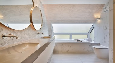 Melanie Craig Design – Highly Commended – 2019 architecture, bathroom, bathroom sink, bathtub, building, ceiling, floor, flooring, furniture, house, interior design, marble, material property, plumbing fixture, property, room, sink, tap, tile, gray