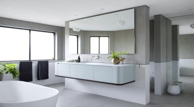 Minosa – Runner-up – 2019 TIDA Australia Designer architecture, bathroom, bathroom accessory, bathroom cabinet, bathtub, building, ceiling, floor, flooring, furniture, home, house, interior design, material property, plumbing fixture, property, room, sink, tap, tile, gray
