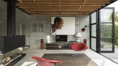 壁炉巧妙地隔开了客厅和用餐区,客厅向院内敞开,是一种拥抱自然的姿态。 architecture, house, interior design, living room, brown