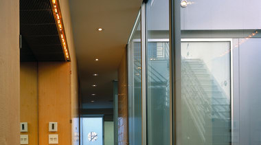 The corridor to the bathroom - The corridor architecture, ceiling, daylighting, glass, house, interior design, window, gray, black, brown