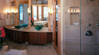 A strong design in this bathroom - A bathroom, cabinetry, floor, flooring, home, interior design, room, gray, brown