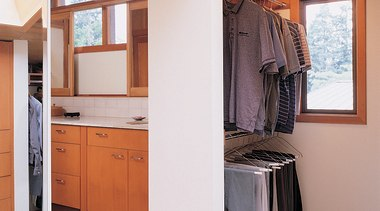 View of the clothes wardrobe - View of cabinetry, floor, furniture, home, interior design, real estate, room, wood, white