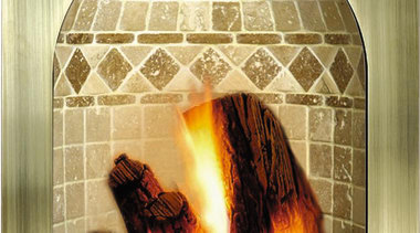 A gas fireplace with a unique design - arch, fireplace, hearth, heat, orange, yellow