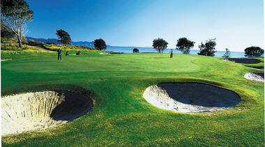 view of the golf course which is situated golf, golf club, golf course, grass, landscape, leisure, sport venue, green