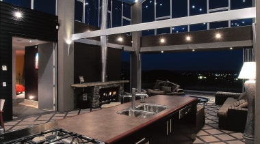 interior view looking past kitchen also showing dining ceiling, countertop, interior design, kitchen, black