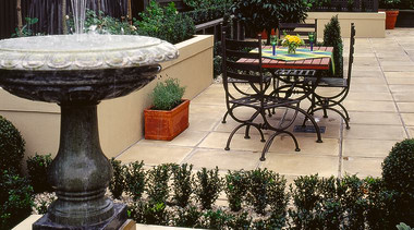 exterior view of patio and outdoor living area backyard, courtyard, furniture, garden, landscaping, outdoor structure, patio, plant, walkway, yard, black