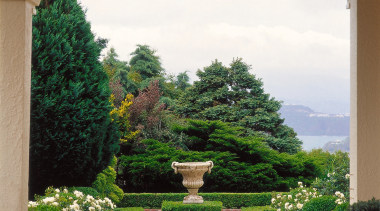 Formal parterre garden with urn and box hedging, courtyard, estate, flowerpot, garden, grass, home, houseplant, landscape, landscaping, outdoor structure, plant, property, real estate, shrub, tree, window, yard, white