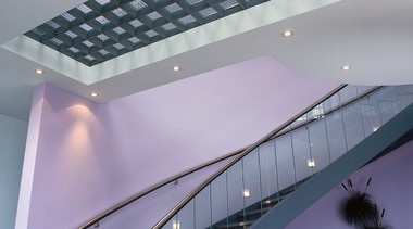 interior view of stairway - interior view of architecture, building, ceiling, daylighting, glass, interior design, stairs, structure, gray, purple