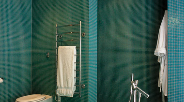 image of toilet area with glass mosaics and architecture, bathroom, ceiling, daylighting, floor, flooring, glass, interior design, plumbing fixture, public toilet, room, tile, toilet, wall, teal, green