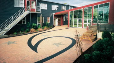 Resene paints used on concrete at Te Wananga architecture, facade, home, house, outdoor structure, property, real estate, residential area, black, orange