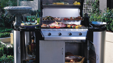 The Kent Full Monty Premier barbeque in garden barbecue, barbecue grill, kitchen appliance, outdoor grill, black, gray