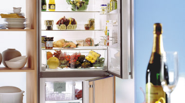 interior of a kitchen showing inside the feature display case, home appliance, kitchen appliance, major appliance, product, refrigerator, shelf, white