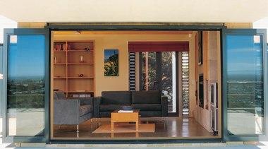 Foldback bifold doors open into living room - door, house, window, white