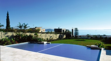 Overall view of this pool - Overall view estate, home, property, real estate, residential area, resort, sky, swimming pool, villa, white, blue, teal
