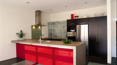 View of the contemporary kitchen - View of cabinetry, countertop, interior design, kitchen, real estate, gray