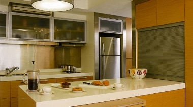 Overall view of the kitchen, white benchtops, wooden cabinetry, countertop, cuisine classique, interior design, kitchen, real estate, room, brown