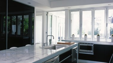 View of the large kitchen - View of cabinetry, countertop, interior design, kitchen, real estate, window, gray, black