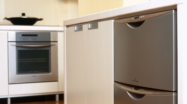 Overview of the dishwasher - Overview of the cabinetry, countertop, drawer, floor, flooring, hardwood, home appliance, kitchen, kitchen appliance, kitchen stove, major appliance, microwave oven, product, product design, refrigerator, room, wood flooring, orange
