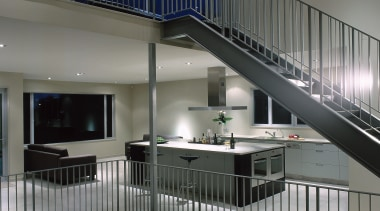 view of the openplane living area - view architecture, daylighting, glass, handrail, house, interior design, stairs, gray, black