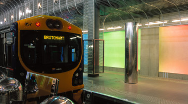 Auckland's new Britomart Transport Centre. Stainless steel mesh metropolitan area, passenger, public transport, rail transport, rapid transit, rolling stock, train, train station, transport, vehicle, black