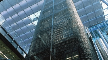 Auckland's new Britomart Transport Centre. Stainless steel mesh architecture, building, city, commercial building, corporate headquarters, daylighting, daytime, facade, glass, headquarters, landmark, line, metropolis, metropolitan area, reflection, sky, skyscraper, structure, tower, tower block, urban area, black, teal