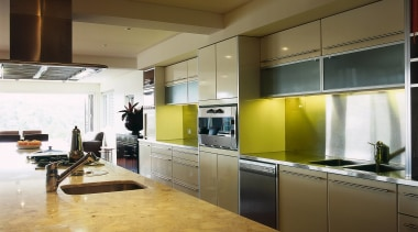 A view of kitchen area made from stainless countertop, interior design, kitchen, brown