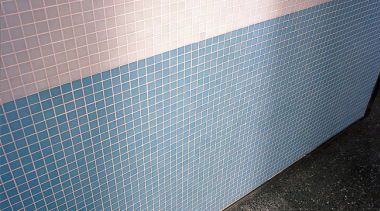 Auckland's Britomart Transport Centre. Bisazza glass mosaic tiles angle, blue, daylighting, line, material, mesh, gray
