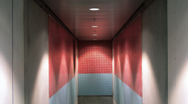 Tiles installed by Tile Systems. The pale blue architecture, ceiling, daylighting, glass, interior design, light, lighting, symmetry, wall, black, gray