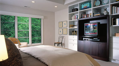 Interior view of the bedroom - Interior view bed frame, bedroom, ceiling, home, interior design, living room, room, wall, window, gray