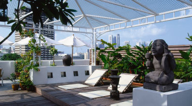 View of the roof-top timber deck - View architecture, arecales, greenhouse, house, outdoor structure, palm tree, plant, real estate, roof, tree, walkway, black, teal
